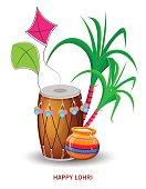 Happy Lohri greeting card with drum, kite and sugarcane,