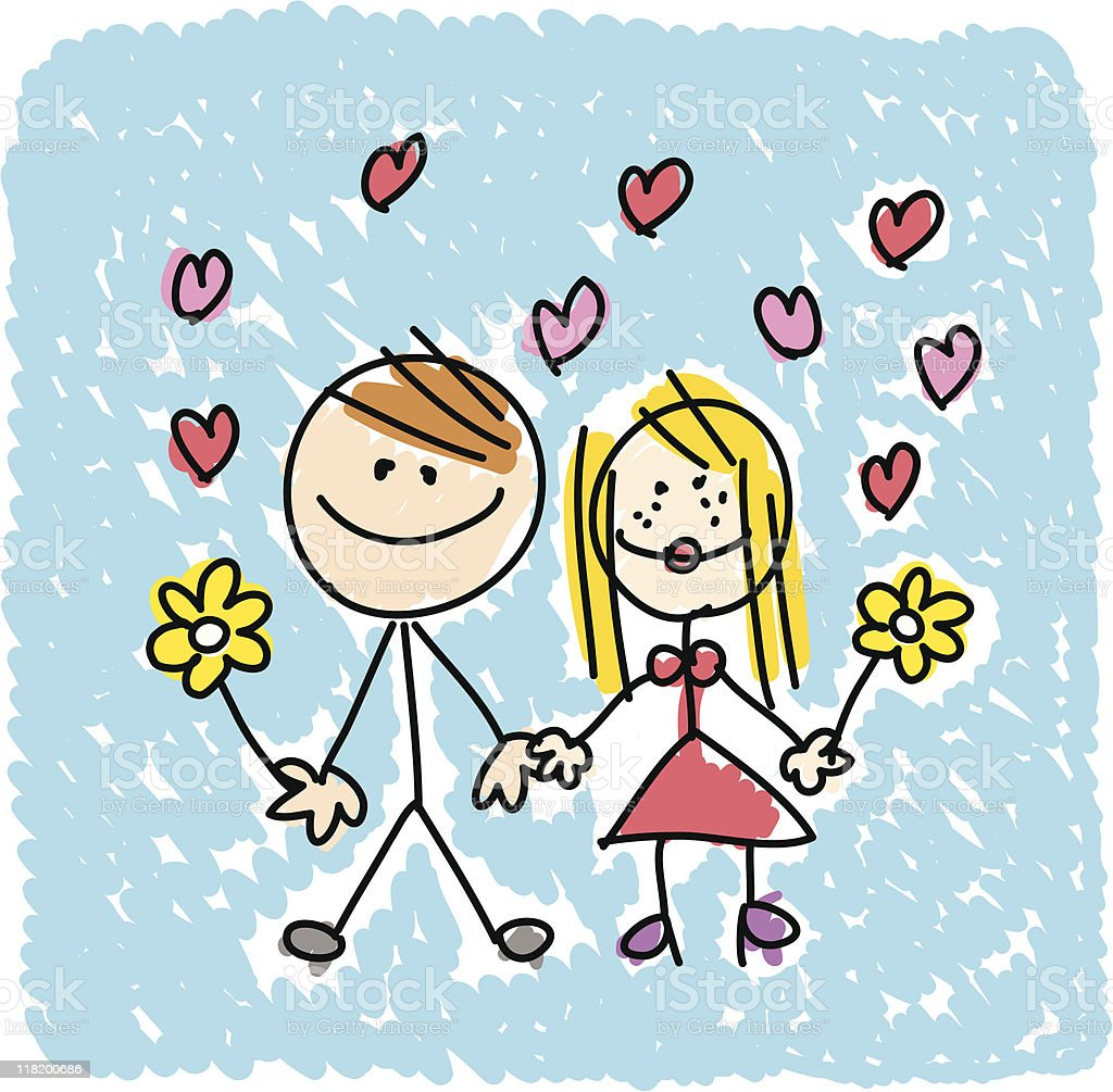 happy lover couple dating  doodle cartoon illustration royalty-free stock vector art