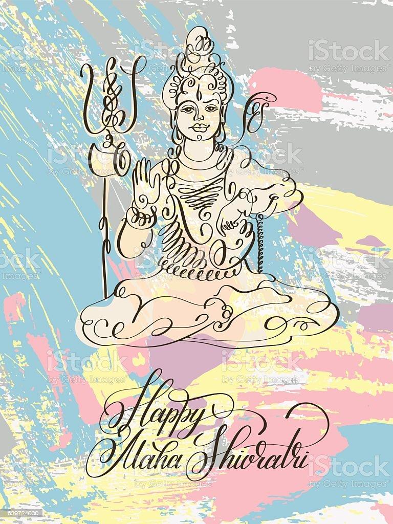 Happy Maha Shivratri black and white line art greeting card vector art illustration