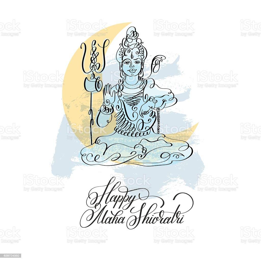Happy Maha Shivratri black line art greeting card design vector art illustration
