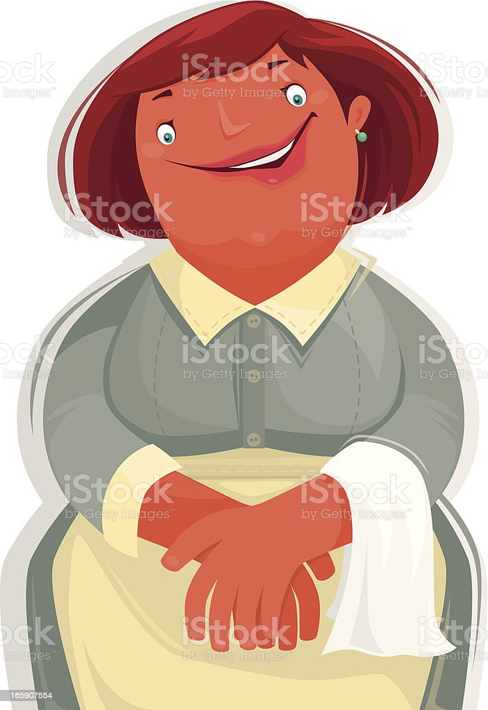 happy maid vector art illustration