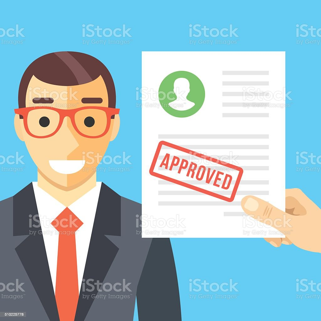 Happy man and approved application form flat illustration concept vector art illustration
