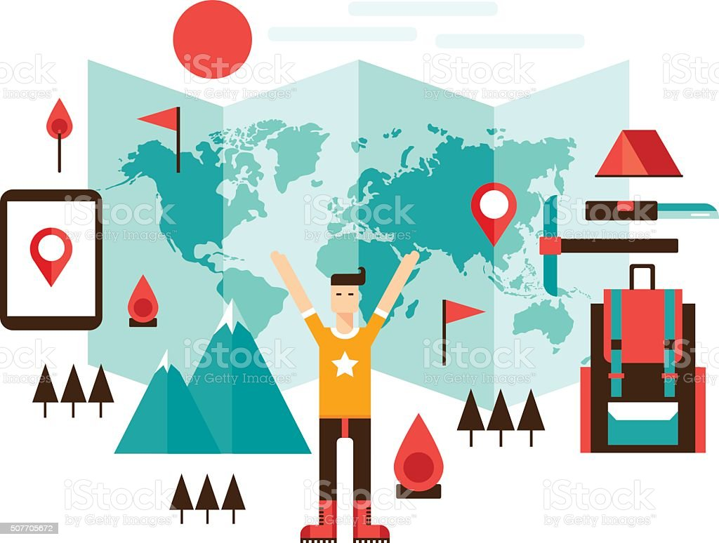 Happy man ready for travel adventures Mountain climbing hiking sport vector art illustration