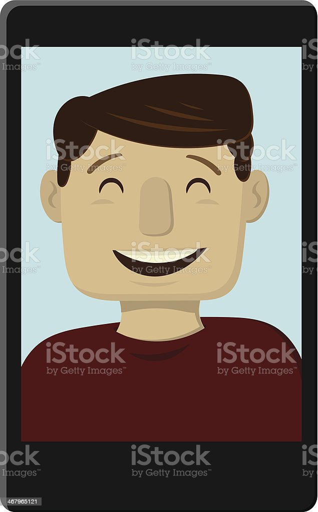 Happy Man Video Chat royalty-free stock vector art