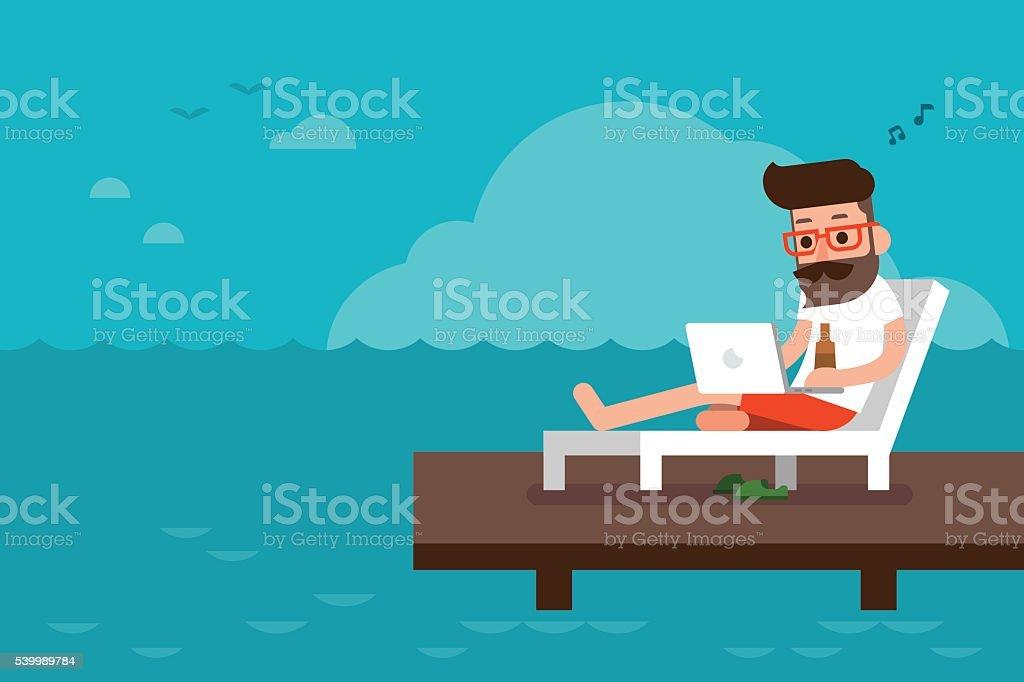 Happy man working on beach chair. vector art illustration