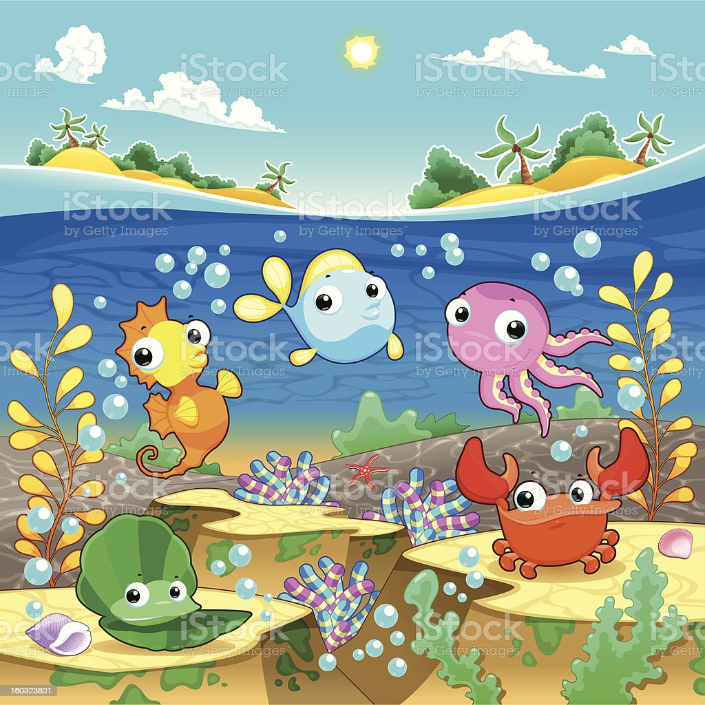 Happy marine family under the sea. royalty-free stock vector art