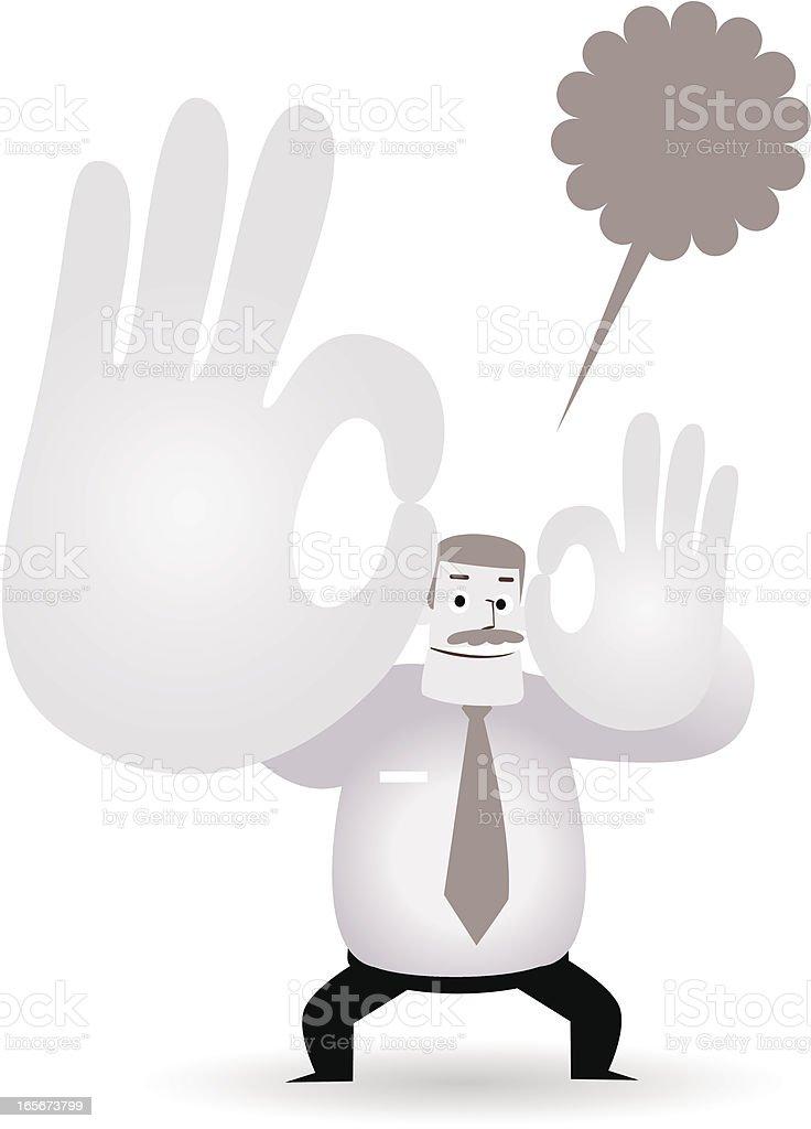 Happy mature businessman( teacher, boss, doctor ) showing ok gesture vector art illustration