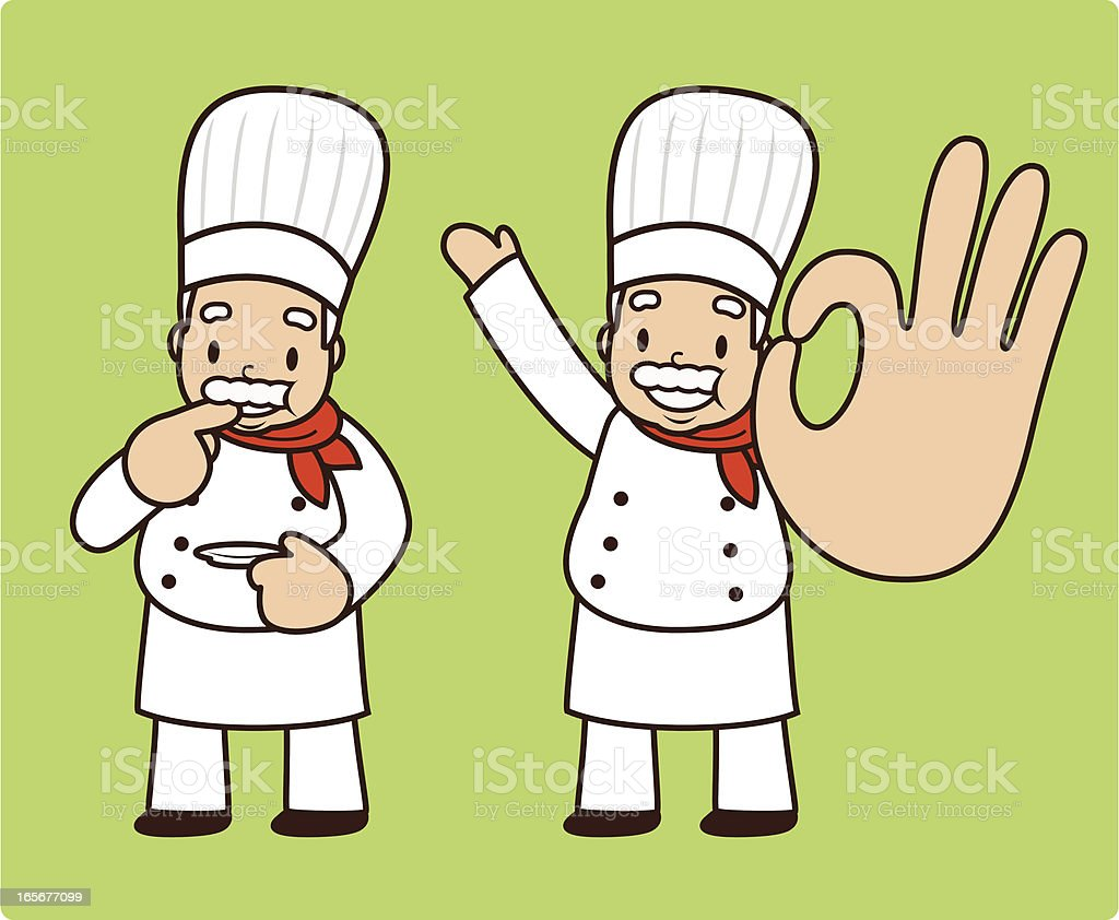 Happy mature chef tasting and showing ok gesture royalty-free stock vector art
