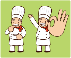 Happy mature chef tasting and showing ok gesture vector art illustration