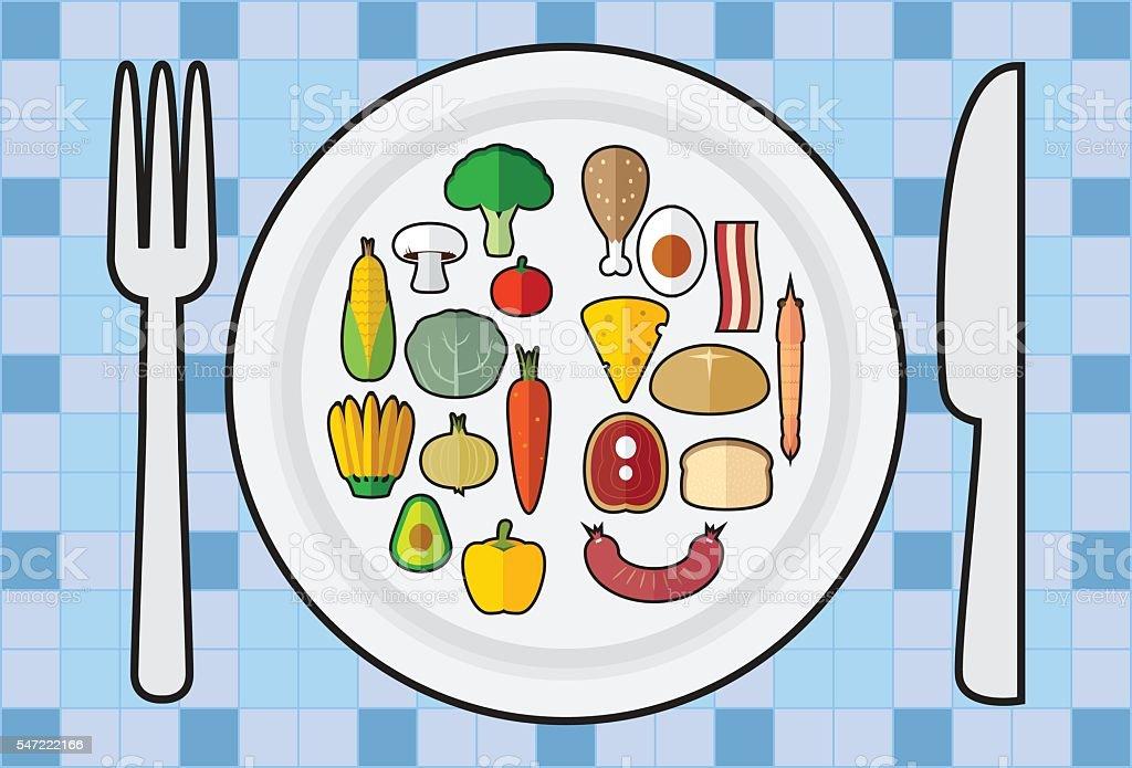 Happy meal healthy - Illustration vector art illustration