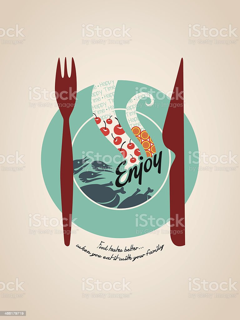 Happy meal plate with fork and knife Illustration vector art illustration