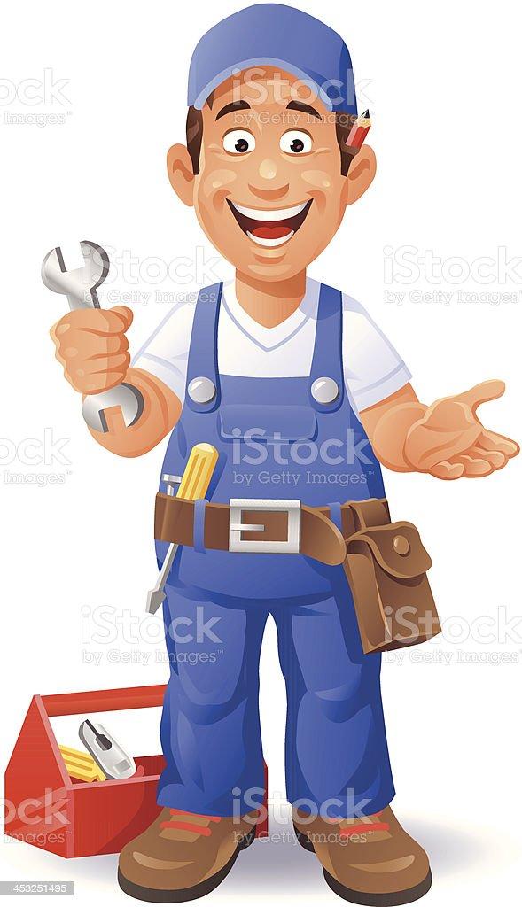 Happy Mechanic vector art illustration