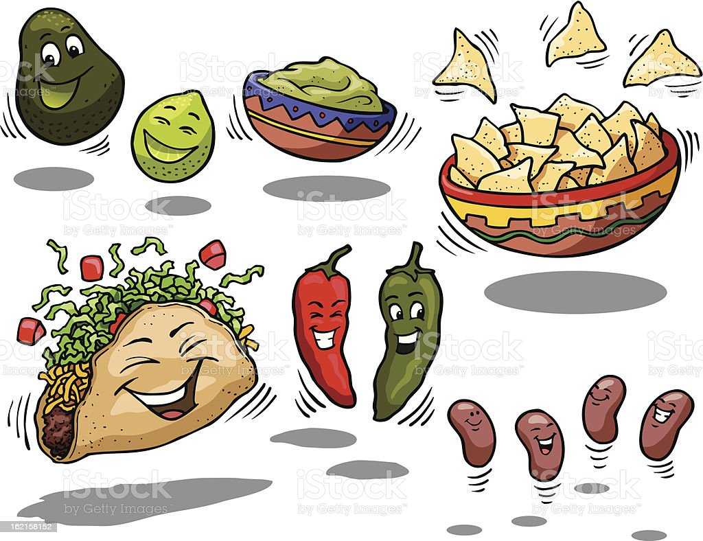 Happy Mexican Food vector art illustration