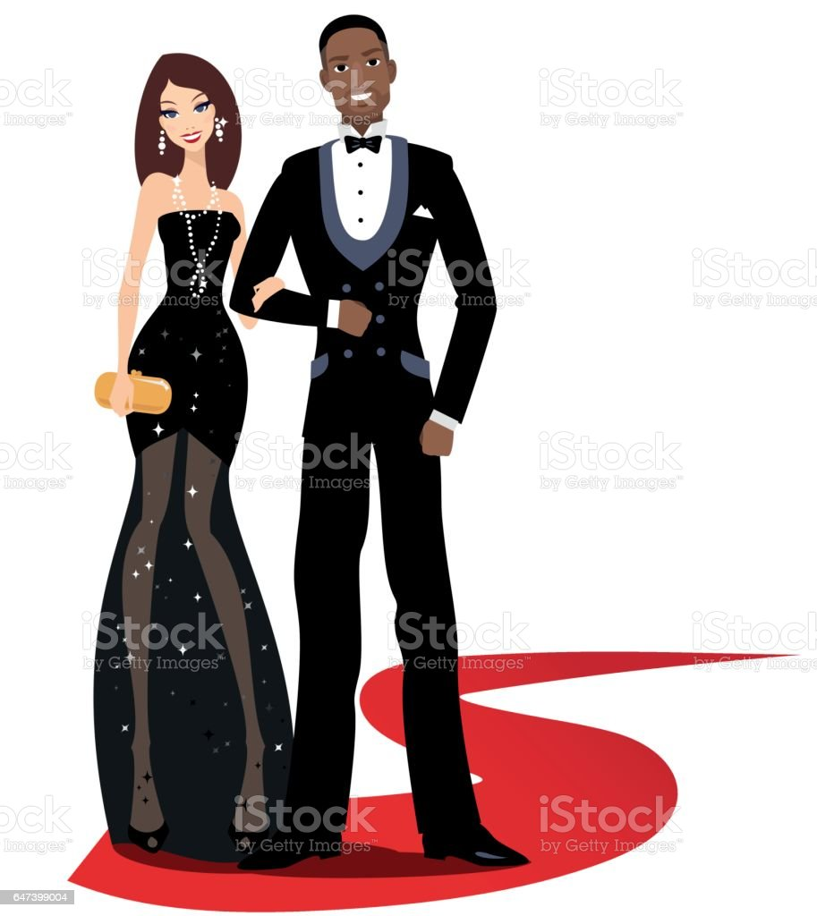 Happy mixed couple on a red carpet vector art illustration