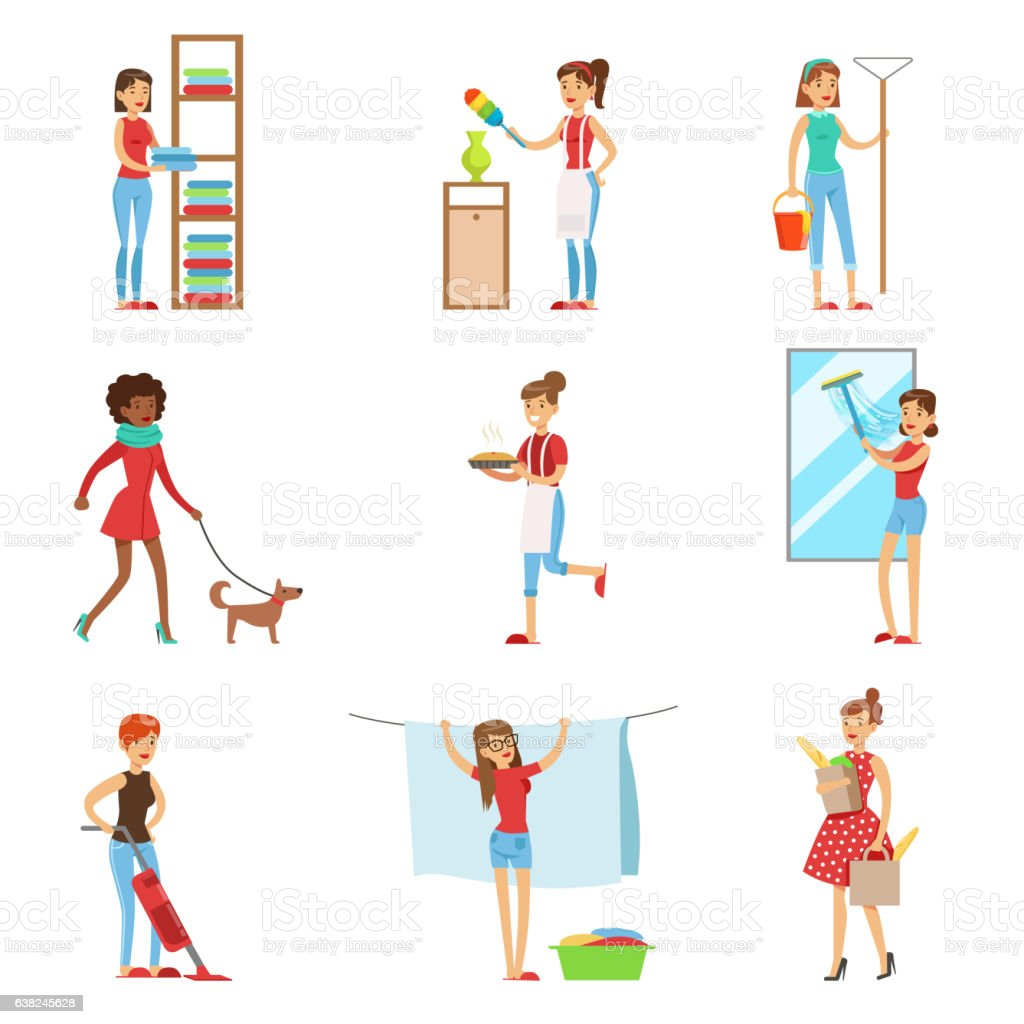 Happy Modern Housewives Shopping And Housekeeping, vector art illustration