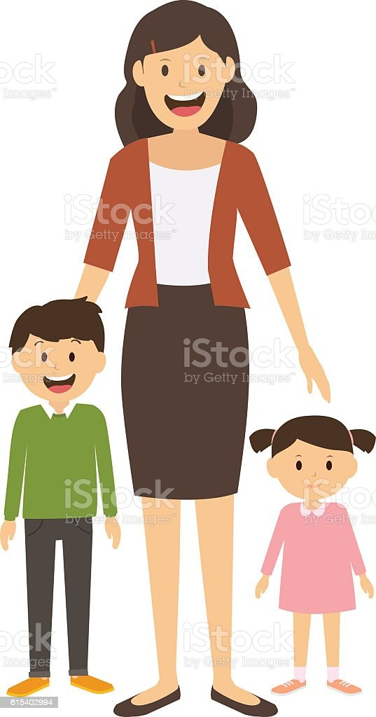 Happy mom and kids standing together isolated on white background vector art illustration