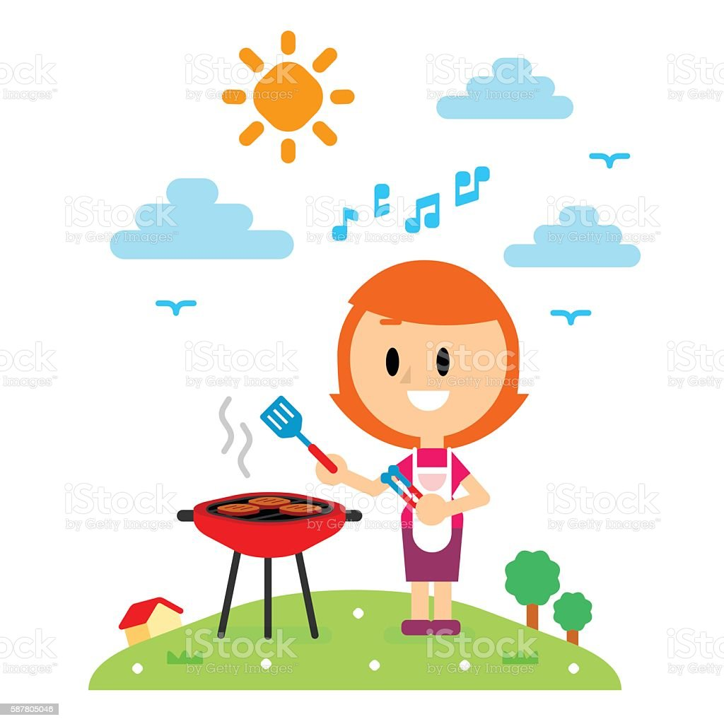Happy Mom Barbecuing in the Backyard House vector art illustration