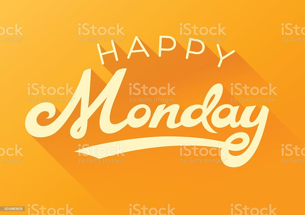 Happy Monday calligraphy note card vector art illustration