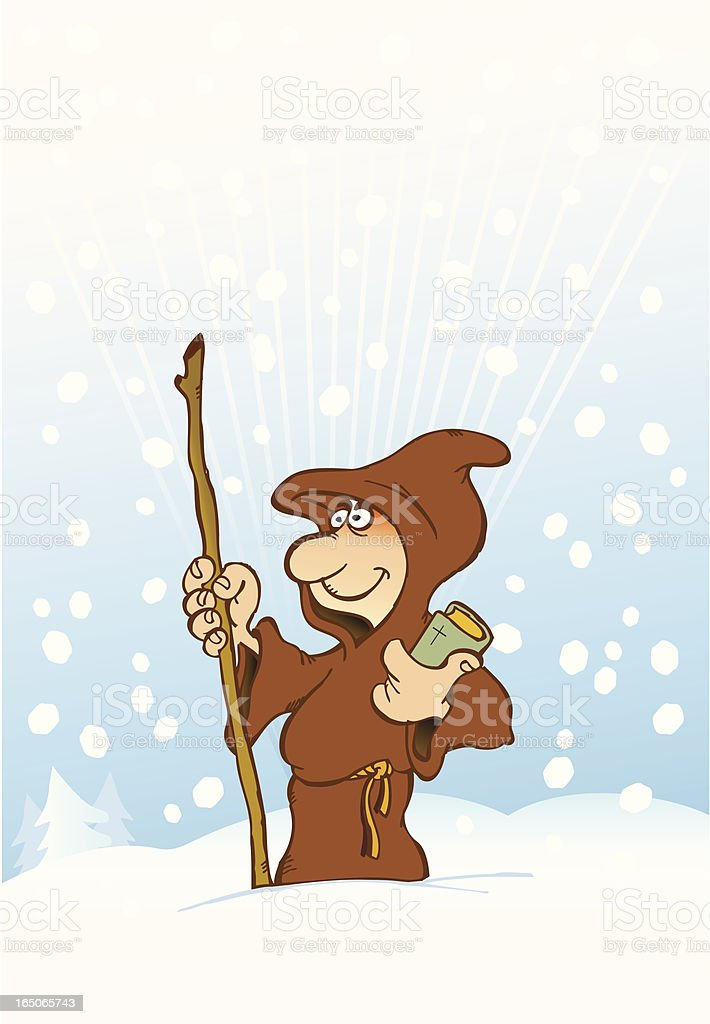 Happy Monk on a snowy landscape royalty-free stock vector art