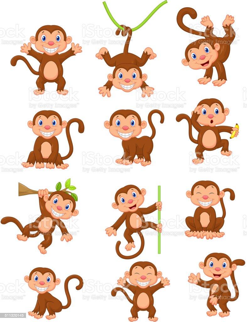 Happy monkey cartoon collection set vector art illustration