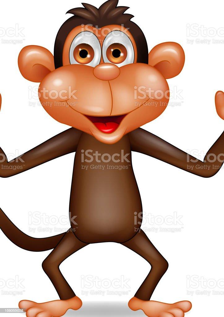 Happy monkey cartoon royalty-free stock vector art