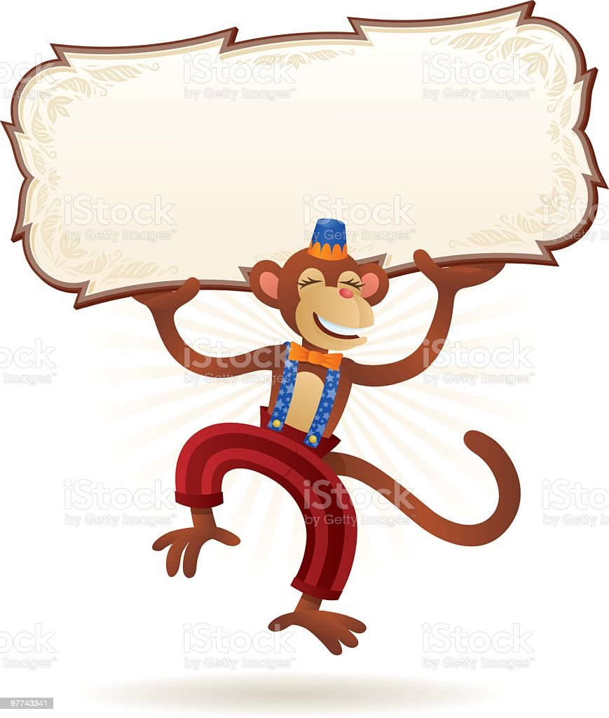 Happy Monkey with Sign royalty-free stock vector art