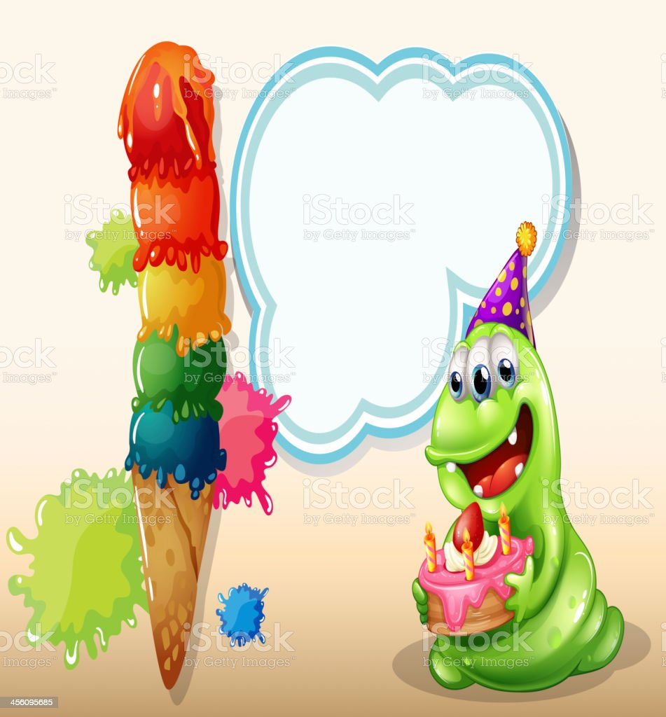 happy monster holding a cake near the big icecream royalty-free stock vector art