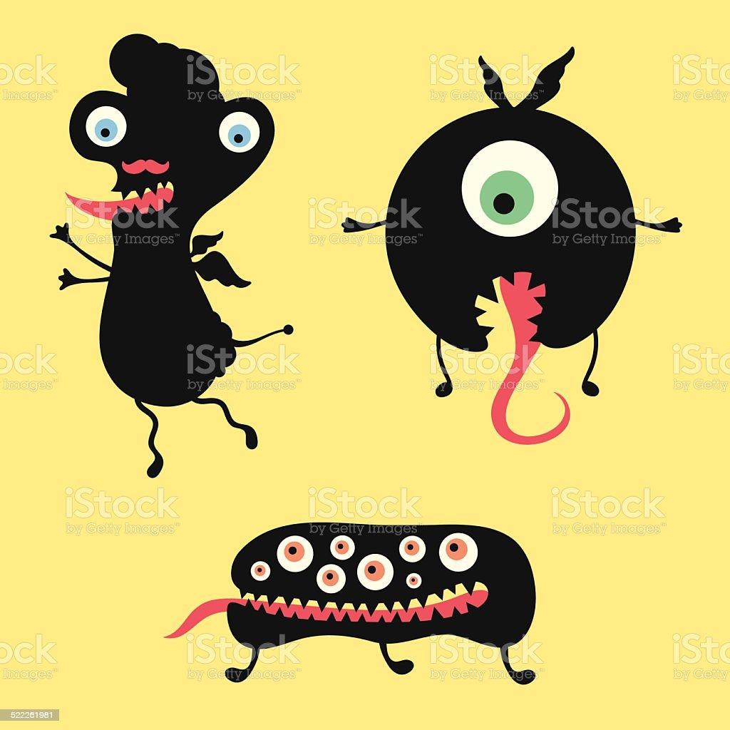 Happy monsters vector illustration. Set 12 vector art illustration