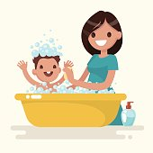 Happy mother washes her baby. Vector illustration