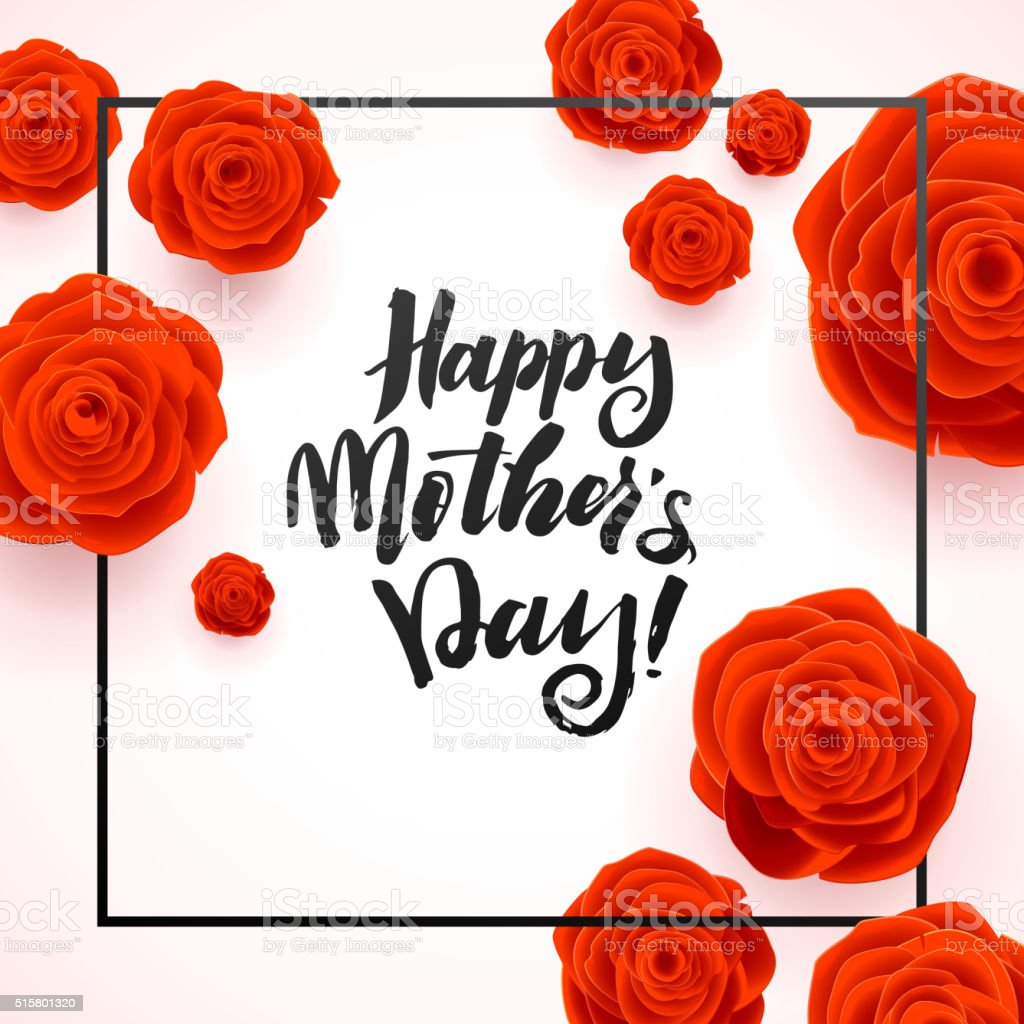 Happy Mothers Day Beautiful Blooming Red Rose Flowers on White vector art illustration