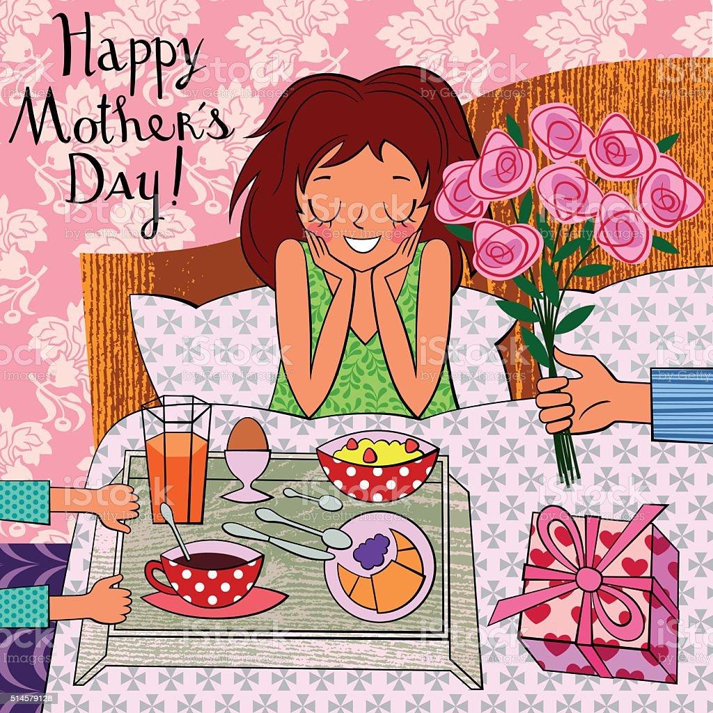Happy Mother's Day. Breakfast in Bed. vector art illustration