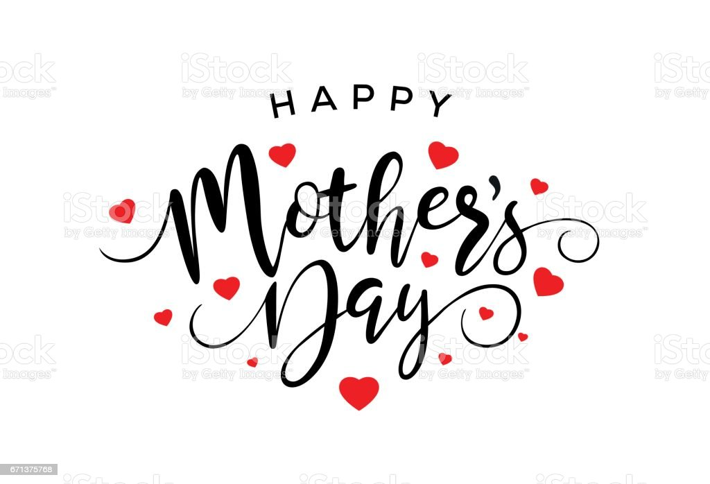 Happy Mothers Day Calligraphy vector art illustration