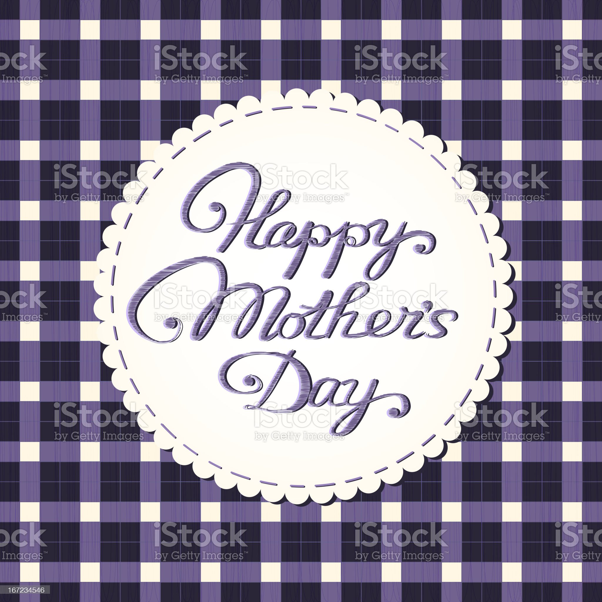 'Happy mother's day' card, embroidered letters. royalty-free stock vector art