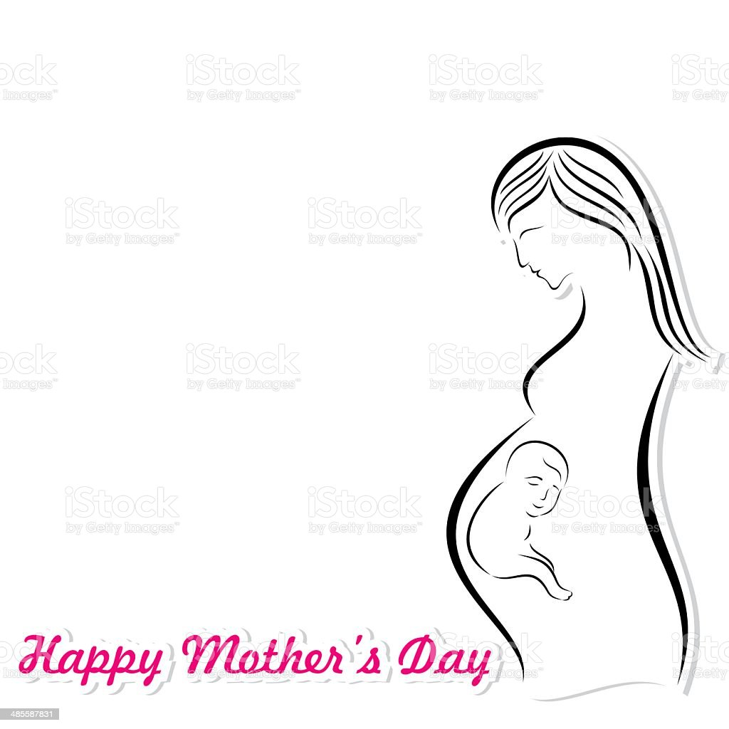 happy mothers day card  with pregnant woman and her fetus vector art illustration