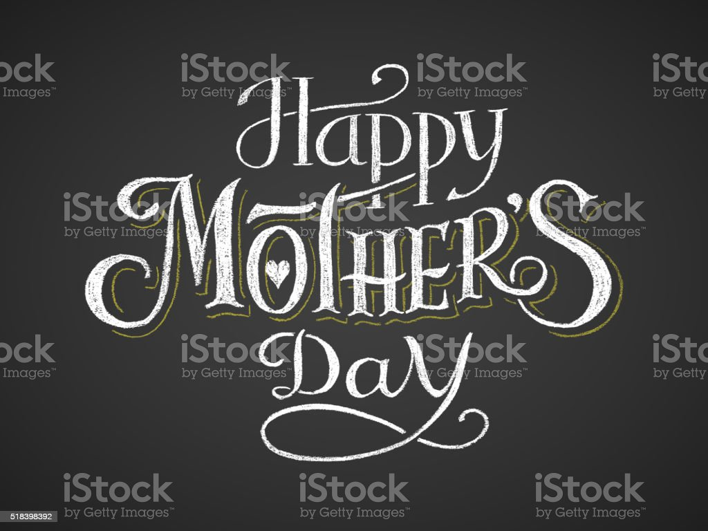 Happy Mother's Day. Chalk lettering vector art illustration