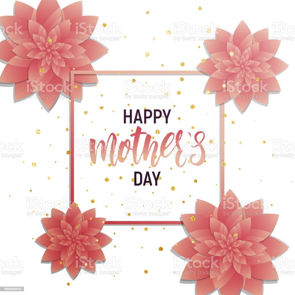 happy mothers day design layout banner with calligraphy lettering