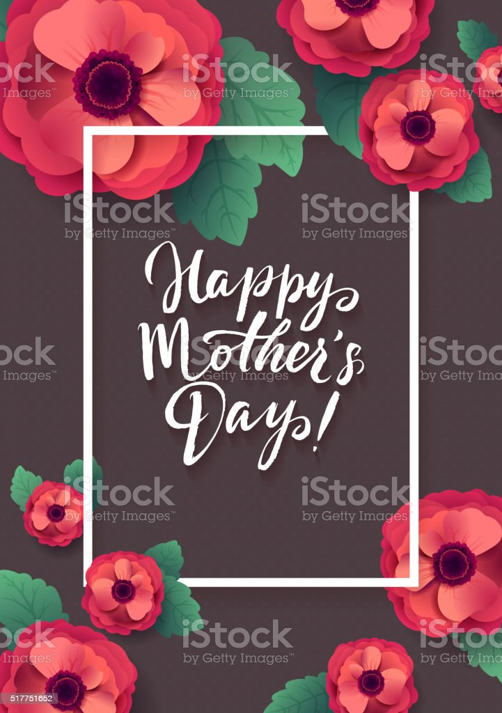Happy Mothers Day Greeting Card. Beautiful Blooming Anemone Paper Flowers vector art illustration