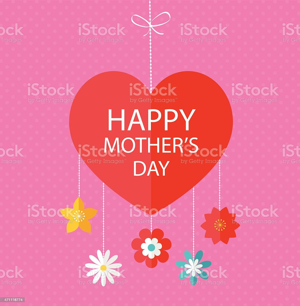 Happy Mother's day  greeting card vector art illustration