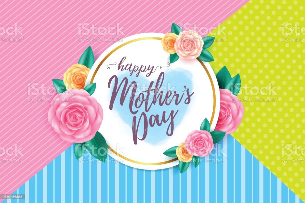 Happy mothers day layout design with roses, lettering, ribbon,frame and flowers background.Vector illusion of  Best mom, mum ever flyer and card. vector art illustration
