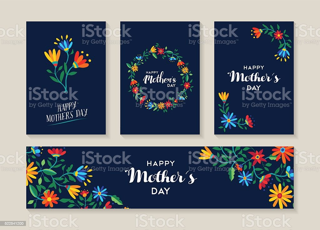 Happy mothers day set of flower labels and cards vector art illustration