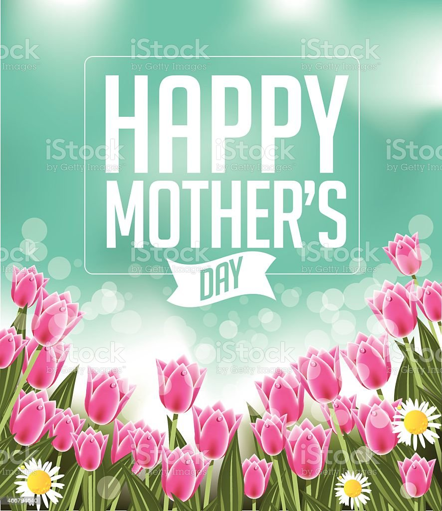 Happy Mothers Day tulips design EPS 10 vector vector art illustration