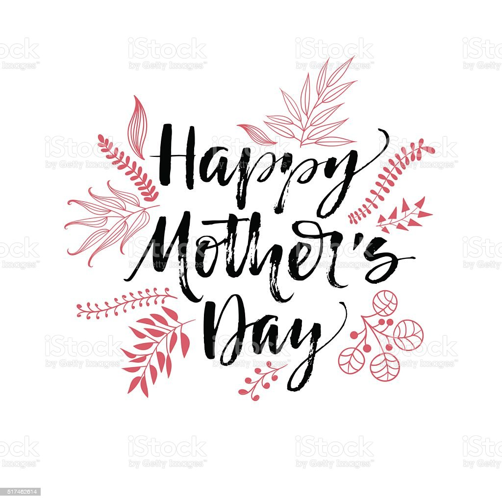 Happy Mother's Day typographical background. vector art illustration