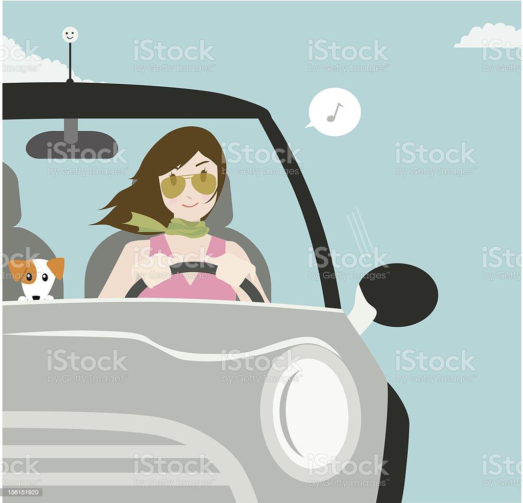 Happy Motoring vector art illustration