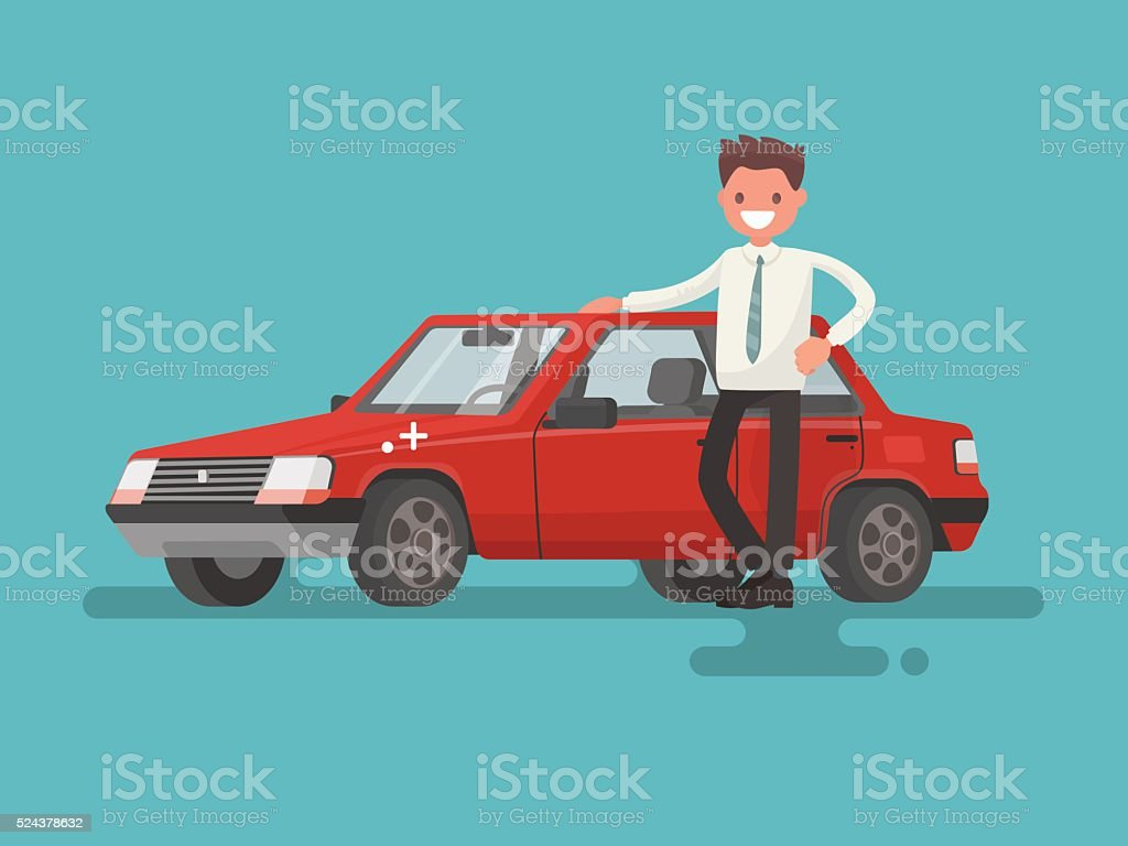 Happy motorist near his car. Vector illustration vector art illustration