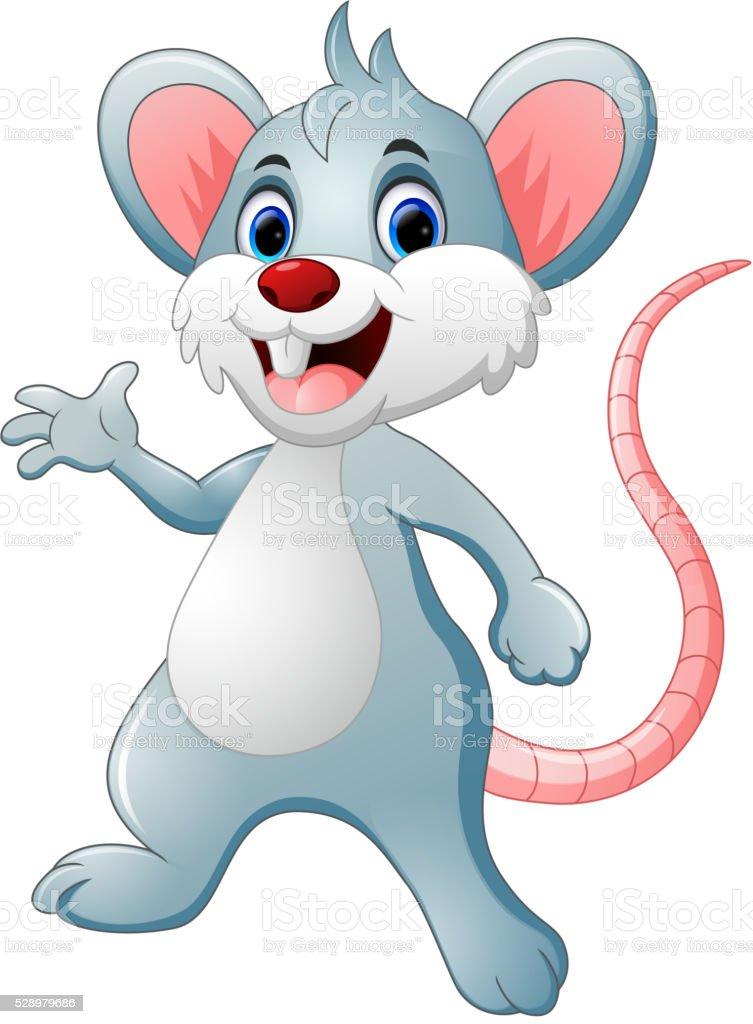 Happy mouse cartoon vector art illustration