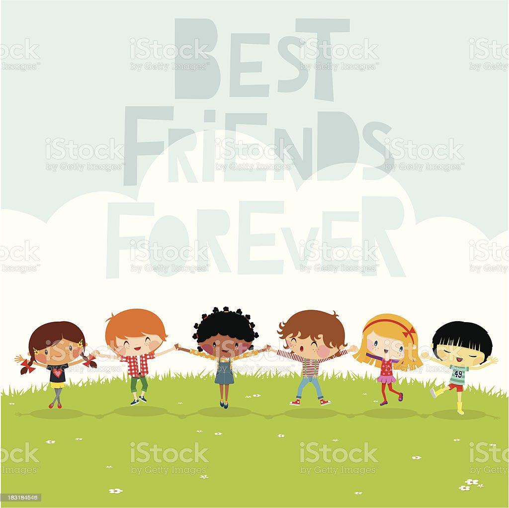 Happy multiethnic kids vector art illustration