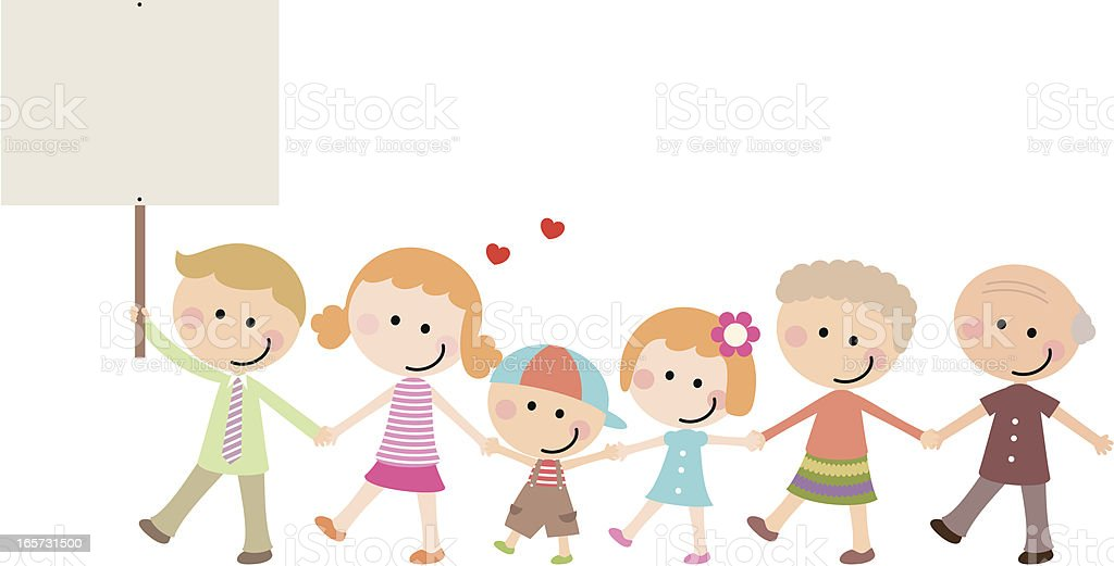Happy Multi-generation Family Holding A Blank Sign royalty-free stock vector art