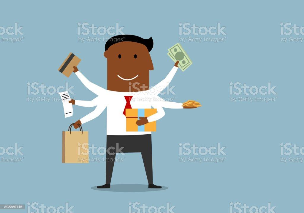Happy multitasking man with shopping items vector art illustration