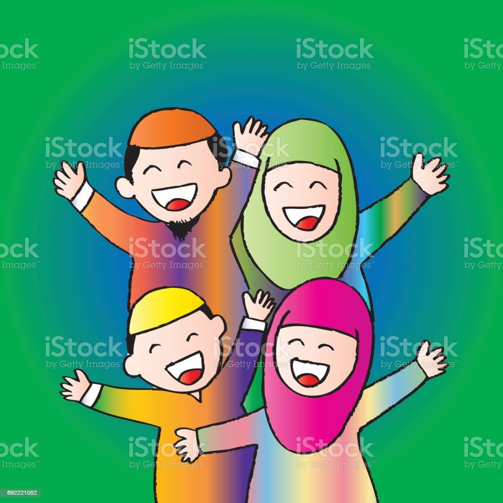 Happy Muslim family. Cartoon style. vector art illustration