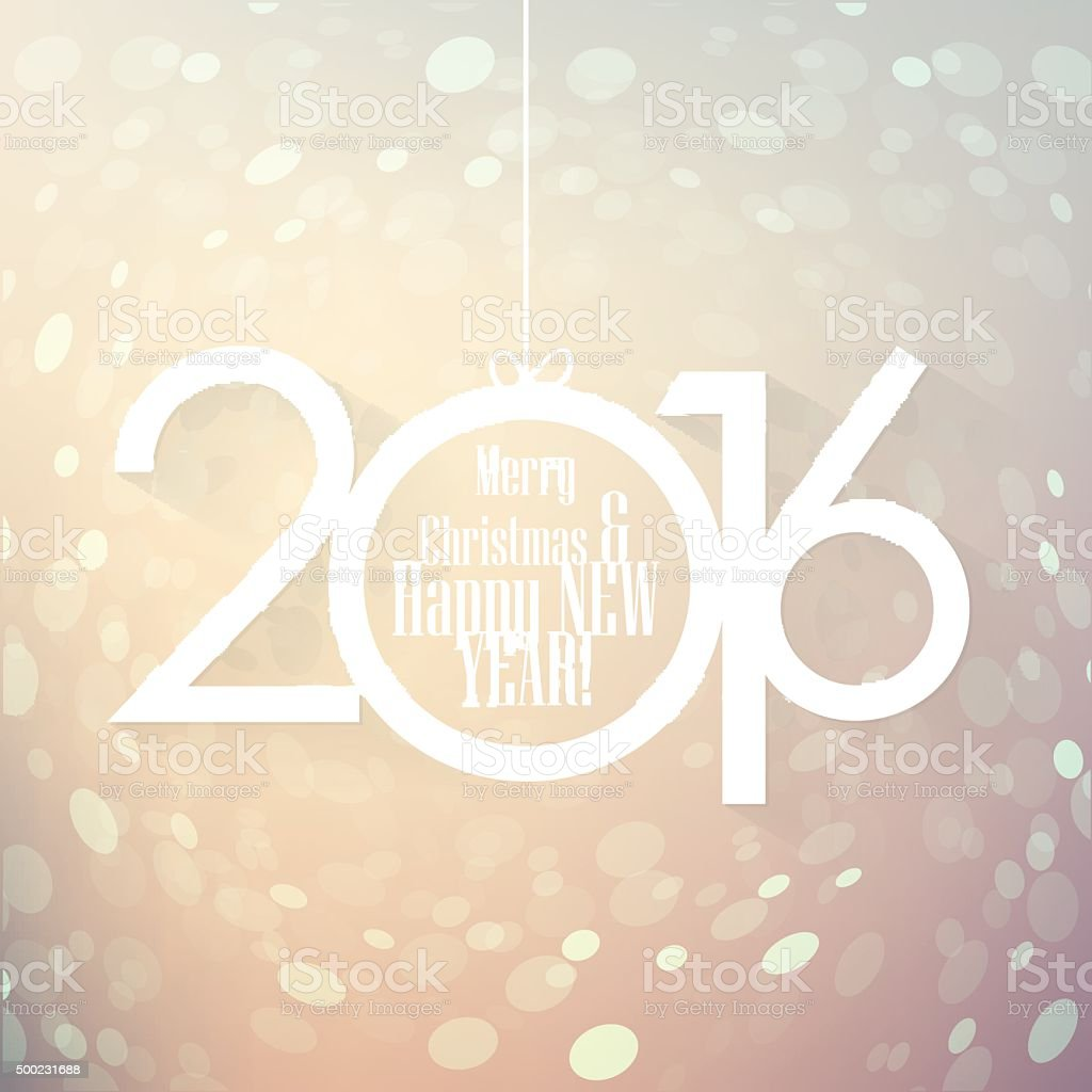 Happy New 2016 Year sign with decorated year numbers vector art illustration